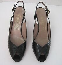 BRUNO MAGLI Black Leather Slingbacks Open Toe Heels Italy Size 6 1/2 AA, NEW
