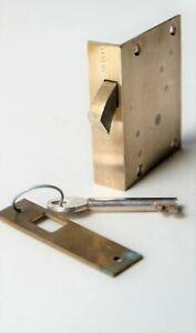 "UNION Brass circular bolt Cut Cupboard Sliding Door LOCK 2 Lever 2 1/2"" CCL9"