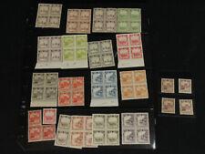 China Manchukuo 1936 Sc# 83-100 Mint & MNH Full Stamp Set x 4 Most Blocks Sc# 95