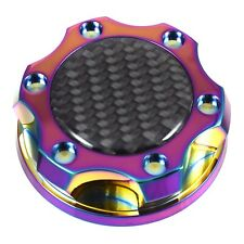 V2 Neo Chrome Billet Oil Filler Cap Black Carbon Fiber Emblem For Honda & Acura