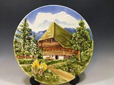 "Majolika Schramberg Handgemalt Raised Scene Decorative Plate - 12""D"