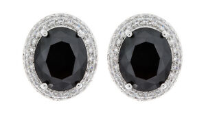 Black Clip On Earrings silver plated stud with a CZ stone and crystals - Miley B