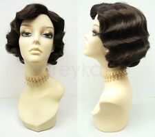 Dark Brown Finger Waves Wig Costume Short Retro 1920s Gatsby Flapper Vintage