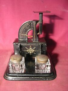 Rare Antique Pat. 1904 Triner Scale & Mfg Co Combination Postal Scale & Inkwell