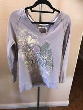 Disney Park Disney Land Live Laugh Relax Purple Soft V-Neck Sweater Size Medium