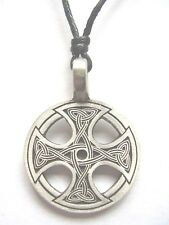 Pewter Celtic cross engraved trinity knot design pendant adjustable necklace