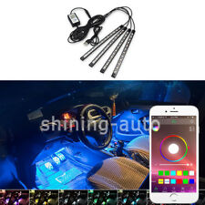 4x Car RGB Phone App Control LED Interior happy Light Kit for Chevrolet Ford GMC