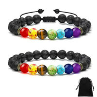 7 Chakras 8mm Lava Rock Stone Anxiety Essential Oil Diffuser Yoga Beads Bracelet