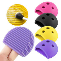 Makeup Brush Cleaners Cute Egg Shape Cleaning Holder For Women Silicone Scrubber