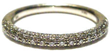 "STACKING ""WH"" 14K WHITE GOLD SEMI- ETERNITY TRIPLE ROW DIAMOND RING BAND SZ 6.5"