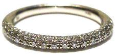 "STACKING ""WH"" 14K WHITE GOLD SEMI- ETERNITY TRIPLE ROW DIAMOND RING BAND SZ 6.5"