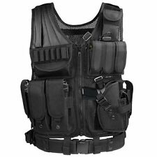 Black Tactical Vest  Molle BlackFor Hunting Police Swat With Holster Pouch New