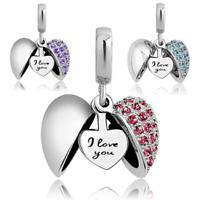 Pandora Charms Bracelet & Necklace I Love You Heart Bead Women Valentine's Gift