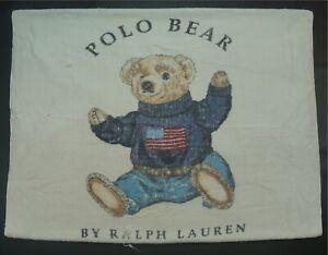 Rare VTG RALPH LAUREN Spell Out Polo USA Flag Bear Bath Beach Towel 90s Sport