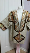 3K Fashion Sequin Embroidered Ivory Linen Kimono Cardigan Size L WC822
