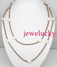 New jewelry necklace 48 inches genuine white drop pearl brown leather no metal