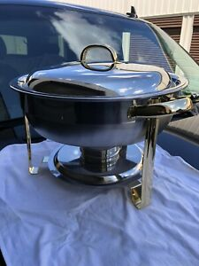 Deluxe Half Size 4 Qt Round Gold Accent Stainless Steel Chafer Chafing Dish Set