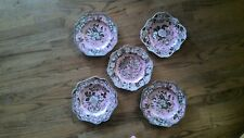 """5 SPODE PINK ARCHIVE COLLECTION SALAD PLATES 9 1/2"""" fancy square garden room"""