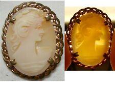Ancien Bijoux camée, Broche et pendentif profil d'une femme
