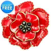 NEW LARGE RED ENAMEL CRYSTAL ROSE GOLD PLATED METAL PINS BROOCH BADGE FOR WOMEN