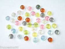 30 perle rotonde forate 8mm con pagliuzze argentate mix vari colori