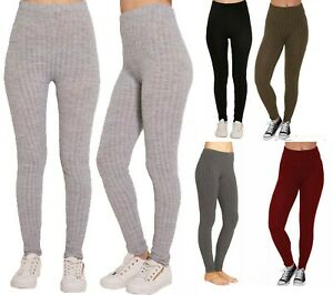 Ladies Women's Chunky Cable Knitted Pattern Thick Wool Warm Leggings UK
