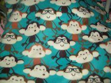 NERDY MONKEYS GLASSES baby toddler car seat  36x30  fleece personalized blanket