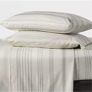 Twin Printed Pattern Fall Flannel Sheet Set Gray Stripe Threshold