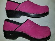 Mule Clogs Lands End 7D 7 Pink Mulberry Rose Black Suede Slip On Wedge Shoes