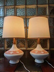 2 vtg MIDCENTURY DANISH MODERN WALNUT TABLE LAMPS 50s WEGNER tiki atomic sputnik