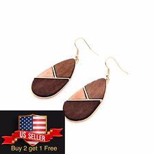 Geometric wooden Earring Elegant OL Earring Dangle Drop Ear Creative  Earring