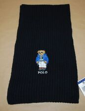 Polo Ralph Lauren Ski Teddy Bear Black Men's Cotton Blend Scarf