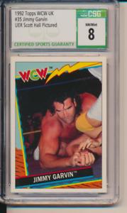 1992 Topps WCW UK #35 Jimmy Garvin ERROR Diamond Studd Scott Hall RC  CSG 8