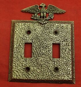 Vintage Hammered Eagle Double Light Switch Plate Cover Early American Art Deco