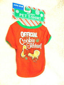 """Christmas Holiday Dog """"Official Cookie Tester """" T-Shirt  Costume ~  NWT  Sz XS"""