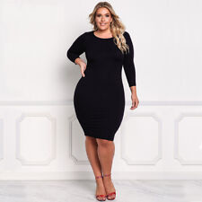 Sexy Women Plus Size Casual Long Sleeve Short Dress Bodycon Slim Party Cocktail