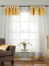 """White with Gold Satin Tab Top Sheer Tissue Curtain / Drape / Panel-84""""-Piece"""