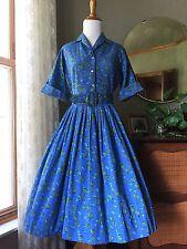 50s Dress Novelty Print Blue Green Roses Cotton 1950s Vintage Fit Flare Skirt