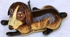 Vintage Tin Litho Wind Up Toy Dog, Made in Japan