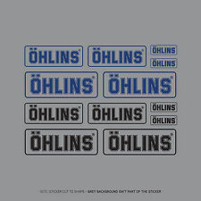 SKU2409 - Set Of 12 Ohlins Stickers - Decals - Motorcycling - Black & Blue Text