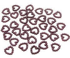 200 Bourgogne perle en forme de cœur double face 11mm Décoration de table scatter perles