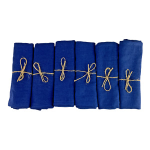 Set of 6 Large Luxury Linen Blue Tea Towels Handmade in the UK