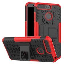 para Huawei Y6 2018 Carcasa híbrida 2 piezas exterior Rojo Estuche Funda NUEVA