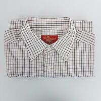 R M Williams Mens Shirt SZ L Relaxed Fit Red Black Check Pockets Western Country