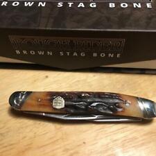 "Rough Rider Brown Stag Bone Muskrat 3 7/8"" Pocket Knife  RR1805"