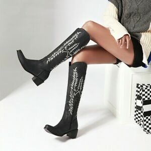 Women Mid Calf Knee High Knight Boots Embossed Cowboy Zip Round Toe Block Heels