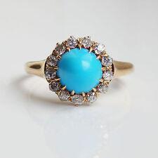 Fine Antique Victorian 18ct Gold Turquoise & Diamond (0.45ct) Cluster Ring c1900