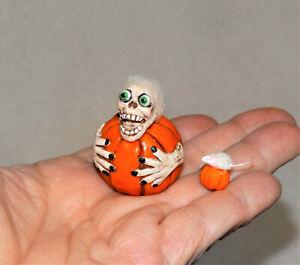 "Dollhouse Miniature Halloween ""SCARY PUMPKIN w/Witch hands""-OOAK-Artist-1 3/4"" t"