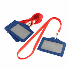 Clear Pouch Case Blue Faux Leather Id Credit Card Holder Red Strap Lanyard 6pcs