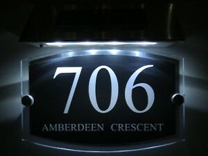 MODERN House Signs Plaques Door Numbers 1 - 9999 street Name SOLAR LIGHT LED
